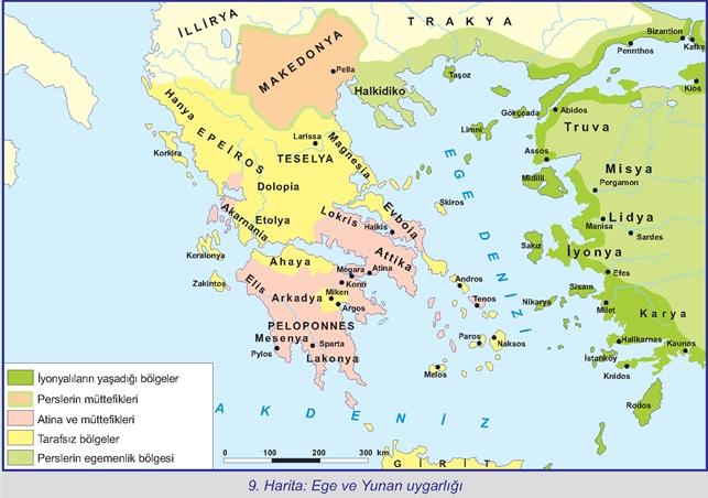 9.Harita-Ege ve Yunan Uygarlığı