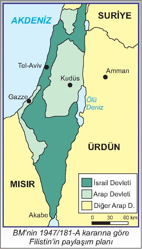 BM'nin 1947-181-A kararına göre Filistin'in paylaşım planı