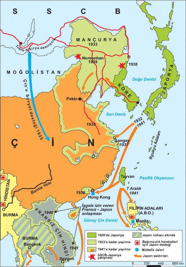 Japonya'nın 2.Dünya Savaşı Öncesi ve Savaş Sırasında Ele Geçirdiği Yerler