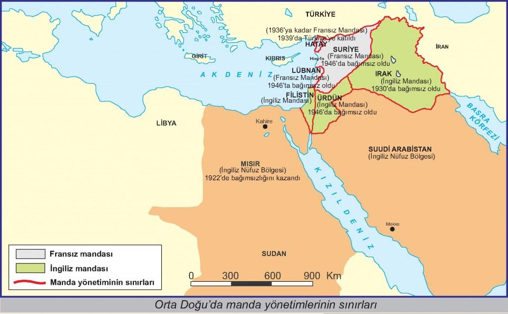 Orta Doğu'da manda yönetimlerinin sınırları
