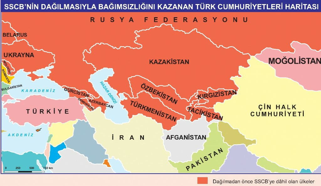 SSCB'nin Dağılmasıyla Bağımsızlığını Kazanan Türk Cumhuriyetleri Haritası
